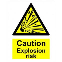 CAUTION EXPLOSION RISK  (20x15cm) White Vin. IMO sign 187581WV