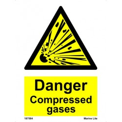 DANGER COMPRESSED GASES  (20x15cm) White Vin. IMO sign 187584WV