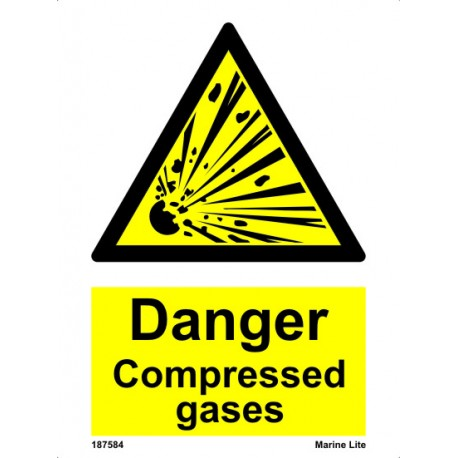 DANGER COMPRESSED GASES  (20x15cm) White Vin. IMO sign 187584WV