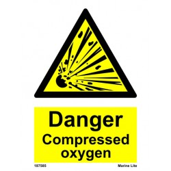 DANGER COMPRESSED OXYGEN  (20x15cm) White Vin. IMO sign 187585WV