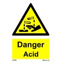 DANGER ACID  (20x15cm) White Vin. IMO sign 187590WV