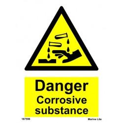DANGER COROSIVE SUBSTANCE  (20x15cm) White Vin. IMO sign 187596WV