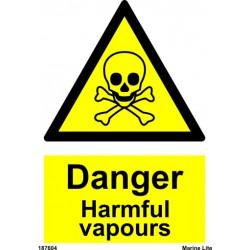 DANGER HARMFUL VAPOURS  (20x15cm) White Vin. IMO sign 187604WV