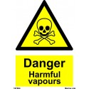 DANGER HARMFUL VAPOURS  (20x15cm) White Vin. IMO sign 187604WV