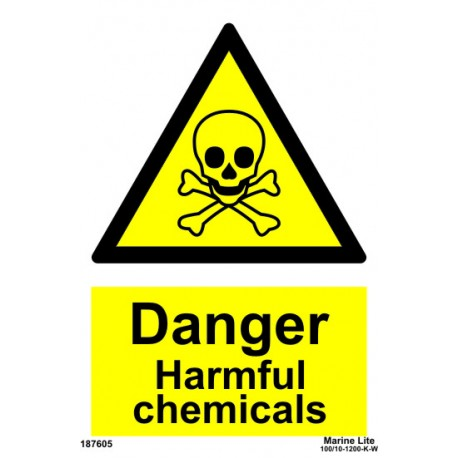 DANGER HARMFUL CHEMICALS  (20x15cm) White Vin. IMO sign 187605WV