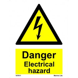 ELECTRICAL HAZARD  (20x15cm) White Vin. IMO sign 187611WV