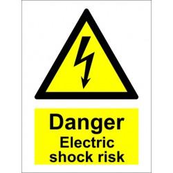 DANGER ELECTRIC SHOCK RISK  (20x15cm) White Vin. IMO sign 187613WV