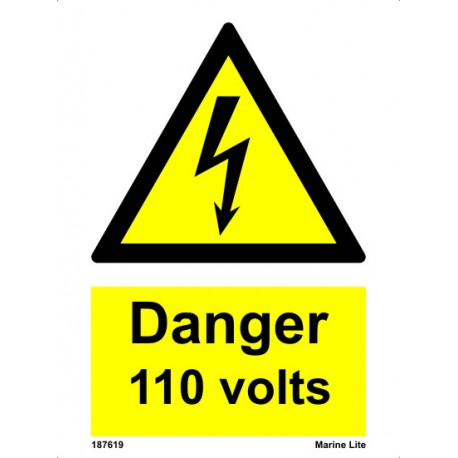 DANGER 110 VOLTS   (15x20cm) White Vin. IMO sign 187619WV