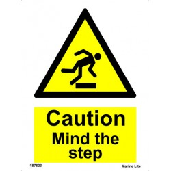 CAUTION MIND THE STEP  (20x15cm) White Vin. IMO sign 187623WV