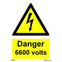 DANGER 6600 VOLTS  (20x15cm) White Vin. IMO sign 187626WV