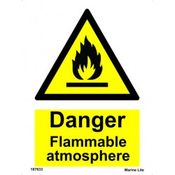 DANGER FLAMMABLE ATMOSPHERE  (20x15cm) White Vin. IMO sign 187633WV