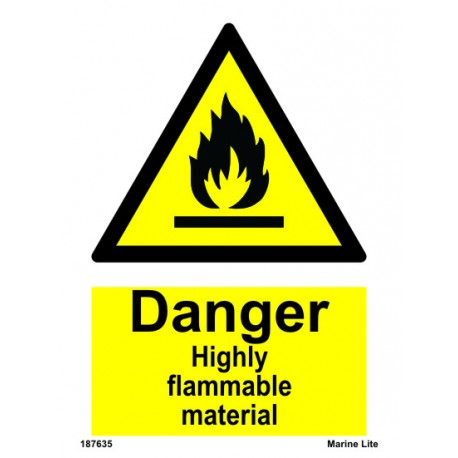 HIGHLY FLAMMABLE MATERIAL  (20x15cm) White Vin. IMO sign 187635WV