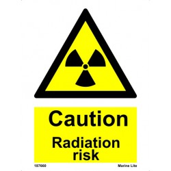 CAUTION RADIATION RISK  (20x15cm) White Vin. IMO sign 187660WV