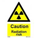 CAUTION RADIATION RISK  (20x15cm) White Vin. IMO sign 187660WV