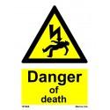 DANGER OF DEATH  (20x15cm) White Vin. IMO sign 187668WV