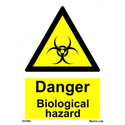 DANGER BIOLOGICAL HAZARD  (20x15cm) White Vin. IMO sign 187680WV