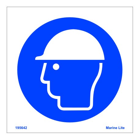 WEAR HELMET  (15x15cm) White Vin. IMO sign 195642WV / MSS014