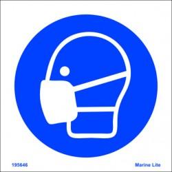 Señal IMO USO OBLIGATORIO DE MASCARILLA PROTECTORA (15x15cm) vinilo blanco autoadhesivo 195646WV / MSS016
