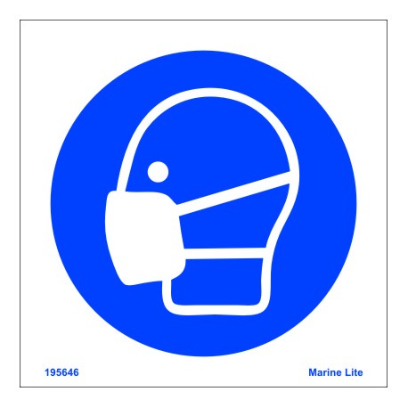 WEAR MASK  (15x15cm) White Vin. IMO sign 195646WV