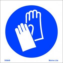 Señal IMO USO OBLIGATORIO DE GUANTES (15x15cm) vinilo blanco autoadhesivo 195649WV / MSS009