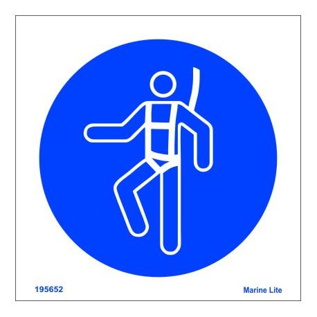 Señal IMO USO OBLIGATORIO DE ARNÉS (15x15cm) vinilo blanco autoadhesivo 195652WV / MSS018
