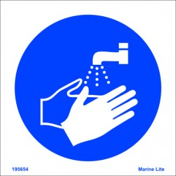 WASH YOUR HANDS  (15x15cm) White Vin. IMO sign 195654WV