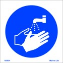 WASH YOUR HANDS  (15x15cm) White Vin. IMO sign 195654WV / MSS011