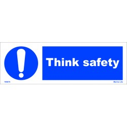 THINK SAFETY  (10x30cm) White Vin. IMO sign 195675WV
