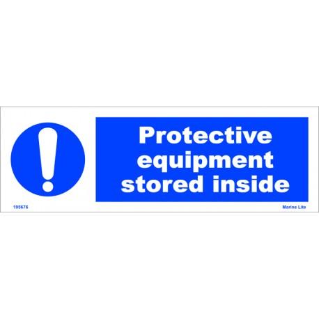 PROTECTIVE EQUIPMENT STORED INSIDE  (10x30cm) White Vin. IMO sign 195676WV