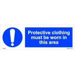 PROTECTIVE CLOTHING MUST BE WORN IN THIS AREA  (10x30cm) White Vin. IMO sign 195677WV