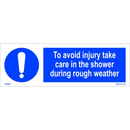 TO AVOID INJURY TAKE CARE IN THE SHOWER  (10x30cm) White Vin. IMO sign 195680WV