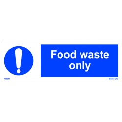 FOOD WASTE ONLY  (10x30cm) White Vin. IMO sign 195691WV