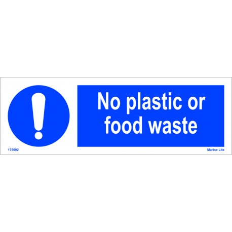 NO PLASTIC OR FOOD WASTE  (10x30cm) White Vin. IMO sign 195692WV