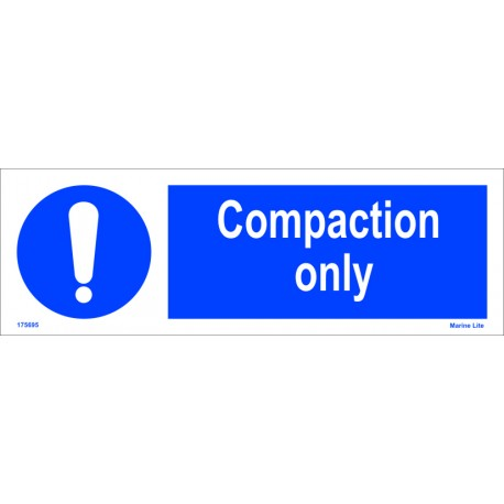 COMPACTION ONLY  (10x30cm) White Vin. IMO sign 195695WV