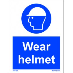 WEAR HELMET  (20x15cm) White Vin. IMO sign 195709WV