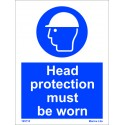 HEAD PROTECTION MUST BE WORN  (20x15cm) White Vin. IMO sign 195710WV