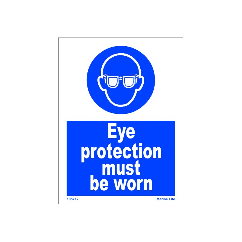 Eye Protection Must Be Worn 20x15cm White Vin Imo Sign