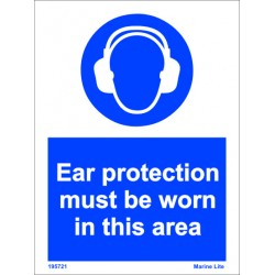 EAR PROTECTION MUST BE WORN IN THIS AREA  (20x15cm) White Vin. IMO sign 195721WV