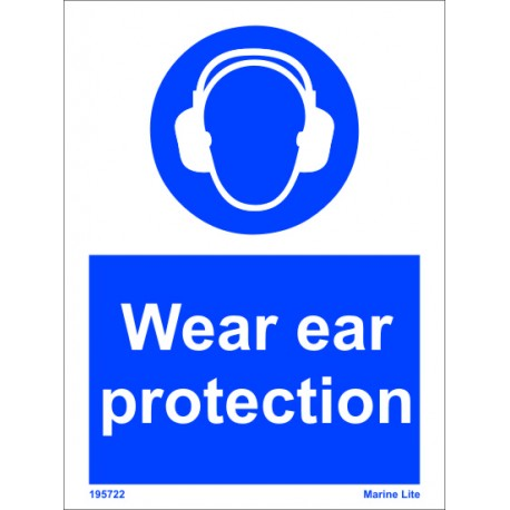 WEAR EAR PROTECTION  (20x15cm) White Vin. IMO sign 195722WV