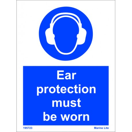 EAR PROTECTION MUST BE WORN  (20x15cm) White Vin. IMO sign 195723WV