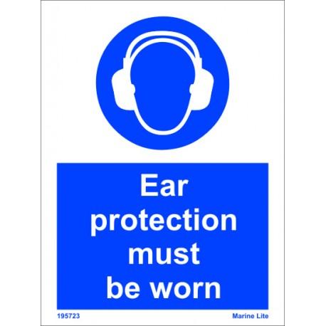Señal IMO USO OBLIGATORIO DE PROTECTORES AUDITIVOS EN ESTE ÁREA (20x15cm) vinilo blanco autoadhesivo 195723WV