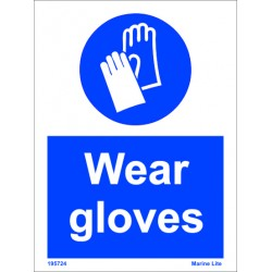 WEAR GLOVES  (20x15cm) White Vin. IMO sign 195724WV