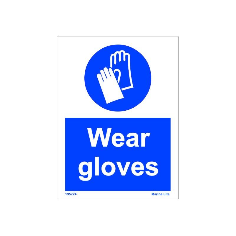 Wear Gloves 20x15cm White Vin Imo Sign 195724wv