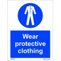 WEAR PROTECTIVE CLOTHING  (20x15cm) White Vin. IMO sign 195726WV