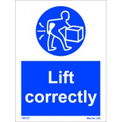 LIFT CORRECTLY  (20x15cm) White Vin. IMO sign 195727WV