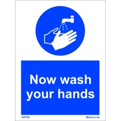 NOW WASH YOUR HANDS  (20x15cm) White Vin. IMO sign 195728WV