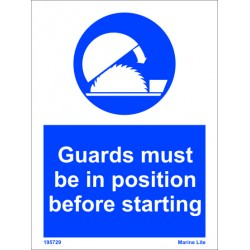 GUARDS IN POSIT.BEFORE START  (20x15cm) White Vin. IMO sign 195729WV