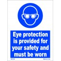 EYE PROTECTION IS PROVIDED  (20x15cm) White Vin. IMO sign 195730WV