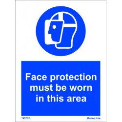 FACE PROTECTION-TO BE WORN IN AREA  (20x15cm) White Vin. IMO sign 195732WV