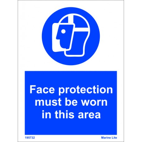 FACE PROTECTION-TO BE WORN IN AREA (20x15cm) White Vin  IMO sign 195732WV